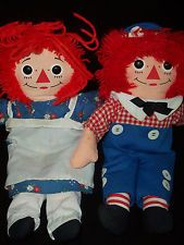 Raggedy Ann and Andy Dolls Stuffed Johnny Gruelle Vintage