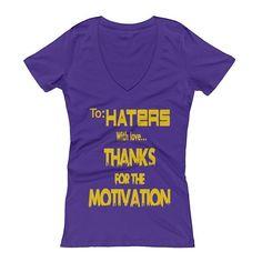 To Haters With Love Purple V-Neck T-Shirt  #blackwomen #tohaterswithlove #darkskingirls #blackisbeautiful #lightskingirls #blackbeautifulandbrilliant #blackgirlmagic #blackgirls #brownskingirls #melaninmagic