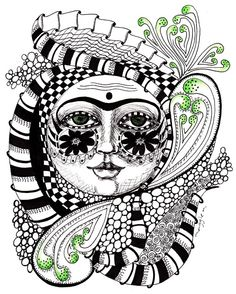 Zentangle faces | ... thought I would try my hand at zentangles, since it's the challenge at