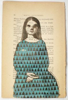 Hush, or Alice Keeps it Inside, by Rowena Murillo 1/50 limited edition print of acrylic and ink painting on vintage book page via Etsy