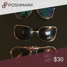 3 pair sunglasses bundle deal Colorful, vibrant, various frame sized sunglasses. *WILL RECIEVE ALL 3 PAIRS FOR LISTED PRICE Accessory Collective Accessories Sunglasses