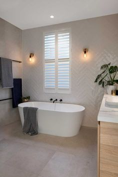 This page displays photographs of a bathroom renovation in a beachside home in Adelaide, South Australia Bathroom Renos, Laundry In Bathroom, Small Bathroom, Modern Bathroom Tile, Bathroom Tubs, Modern Bathrooms, Family Bathroom, Upstairs Bathrooms, Dream Bathrooms