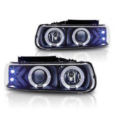 WinJet WJ10-0214-04 | 2000 Chevy Silverado Black Halo Projector Headlights for SUV/Truck/Crossover Black Headlights, Car Headlights, Suv Trucks, Chevy Trucks, 2000 Chevy Silverado, Car App, Projector Headlights, Headlight Bulbs, Best Black