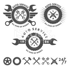 Auto service labels emblems and logo elements royalty-free stock vector art
