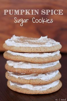 Frosted Pumpkin Spice Sugar Cookies (To make vegan: sub any dairy with non-dairy alternatives like Earth Balance buttery sticks, and Tofutti Better-Than-Cream-Cheese)