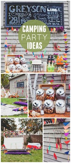 A backyard camping birthday party with a trail mix bar and a campout in tents!  See more party planning ideas at CatchMyParty.com!