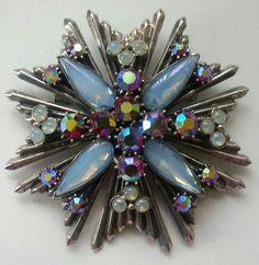 Rare,Vintage Florenza Copti Cross Rhinestone Brooch/ Pendant! VERY NICE!  #Florenza