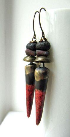 Embers  handmade earrings spike earrings long by somethingtodo