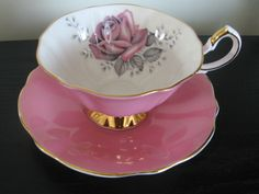 Queen Anne Pink Black Rose China Cup Saucer