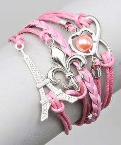 Look what I found on #zulily! Pink Paris & Fleur-de-Lis Bracelet by Bubbly Bows #zulilyfinds