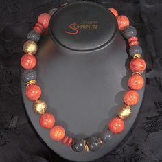 Collier Roma Handgefertigtes elegantes Collier mit Schaumkoralle und Lava