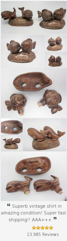 Treasure Craft Vintage Salt Pepper S&P Hawaiian Fish + Sea World Whales Shaker