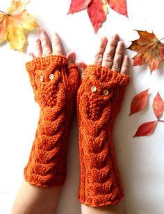 Owl Orange Long Hand Knitted Arm Warmers Fingerless by NastiaDi
