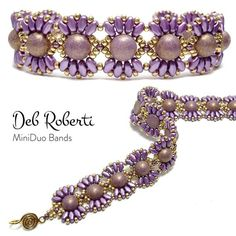MiniDuo Bands beaded pattern tutorial by Deb Roberti Seed Bead Tutorials, Seed Bead Patterns, Beaded Bracelet Patterns, Beading Tutorials, Beading Patterns, Beaded Necklace, Embroidery Patterns, Loom Patterns, Beaded Bead