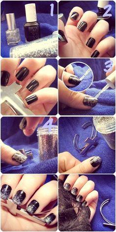 How to make a gradiation of glitter Nail Art : http://tadamnaa.wordpress.com/ - #nailart #glitter