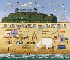 Charles Wysocki - The Nantucket - ANNIVERSARY EDITION CANVAS from the Greenwich Workshop Fine Art Gallery featuring fine art prints, canvases, books, porcelains and gift ideas. Kitsch, Cottage Art, Poster Prints, Art Prints, Posters, Workshop, Naive Art, Illustrations, Paintings