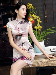 Pink Floral Print Short Qipao / Cheongsam Dress in Mulberry Silk