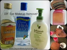 Easy DIY Makeup Remover. I use this one for my face but not for my eyes. I use castor oil mix instead