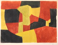 Serge Poliakoff, Composition in Black, Yellow and Brown Fabulous holiday gift to brighten your home