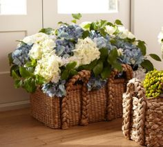 basket and flowers for a Spring/Summer garden party - early evening, lunch or Sunday Brunch