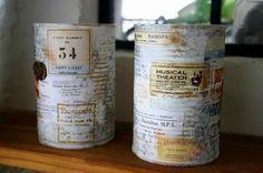 こちらは英字新聞とマス手を組み合わせて作ったリメ缶です。オシャレな雰囲気になっています。