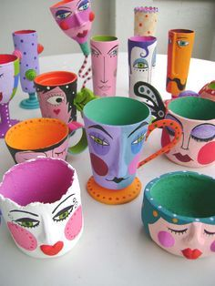 Paper Mache Crafts, Clay Crafts, Diy And Crafts, Pottery Painting Designs, Pottery Art, Clay Art Projects, Paperclay, Diy Clay, Clay Creations