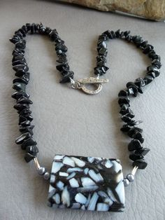 Black Speckled Bead necklace with small black by RoseFireDesigns, $35.00