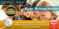 We offer quality essay writing services for every academic level. No matter what subject it is, our expert writers can craft distinctive essays on varying topics. We offer customized essay writing services prepared from scratch and is completely plagiarism free. At Content Writings, we never sell customized essays to anyone else. For our client's satisfaction, we are offering unlimited revisions on our essay writing services.