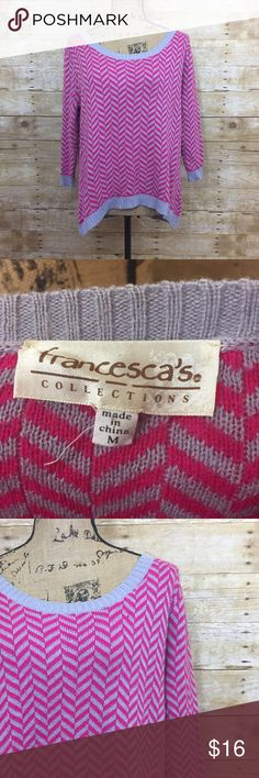 Francesca's Chevron Sweater Great condition! The colors are pink and gray. Material is in the 4th picture. Let me know if you have any questions! I'm open to offers! Francesca's Collections Sweaters