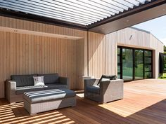 European Larch Cladding by Rosenfeld Kidson & Co. New Zealand Western Red Cedar Lumber, Western Red Cedar Cladding, Cedar Wood, Wood Oil Finish, Larch Cladding, Cedar Paneling, External Cladding, Cladding Systems, New Zealand Houses