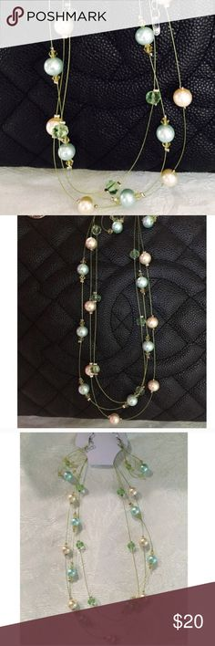 Set of Pearl Earrings and Necklace Delicate Multi Strand Necklace with Glistening Pearls Soft Cream and Mint Green Pearls, framed with studded crystal details throughout💞  *Set includes Necklace and matching earrings *Multicolor faux pearls  *Customer's Favorite; always a 5 Star rating💞 *Why purchase the Kate Spade for $198, when you can rock the same look for $20?   💞 PRICE IS FIRM 💞 Jewelry Necklaces