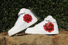 Hand painted Custom Sneakers and Personalized Apparel by CandyPaintCustoms Custom Sneakers, Custom Shoes, Custom Af1, Tall Winter Boots, 1 Rose, Hot Shoes, Fresh Shoes, Painted Shoes, Equestrian Boots