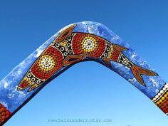 Boomerang Shark Design Hand painted Aboriginal by RaechelSaunders