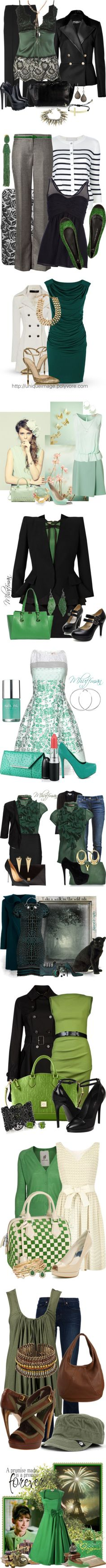 """""""Green With Envy"""". Don't really like the lighter few, but the darker sets, definitely want them in my closet. A Girl Like Me, Cool Coats, Cool Outfits, Fashion Outfits, Skirts For Sale, Kinds Of Clothes, Work Attire, Long Sweaters, Slytherin"""