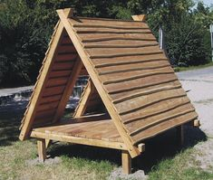 A Frame Cabin, A Frame House, Dog Houses, Play Houses, Cabin Plans, House Plans, Outdoor Shelters, Pallet House, Tiny House Cabin