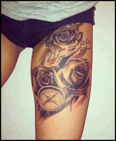 black-rose-and-compass-tattoo.jpg (400×489)
