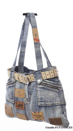 sac à main en jean recyclé unique : Sacs à main par deglingo-rigolo                                                                                                                                                                                 Plus