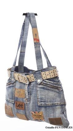 sac à main en jean recyclé unique : Sacs à main par deglingo-rigolo