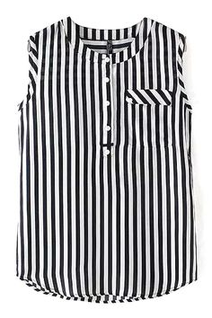 O-Neck Striped Tank Top – Trendy Road - women's sheer blouses, black blouses for work, blue and white floral blouse *ad Sleeves Designs For Dresses, Dress Neck Designs, Blouse Designs, Cute Fashion, Fashion Outfits, Long Blouse, Black Blouse, Striped Tank Top, Clothes