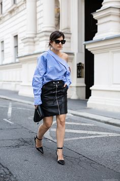 Striped Shirt + Leather Skirt I More on viennawedekind.com