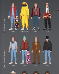 Great Scott! We're only nine days away from October 21st, 2015, the date  Back to the Future fans have been waiting for since the second movie hit  theaters back in 1989. And since Halloween also conveniently happens to  take place this month, it's a great time for this infographic from  HalloweenCostumes that lists all of the costumes worn by Marty McFly, Doc  Brown, and Biff Tannen throughout the time-traveling trilogy.  A small correction, though: in the section of Doc costumes from Back…
