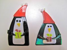 Fused Glass Penguin Christmas Holiday Ornament
