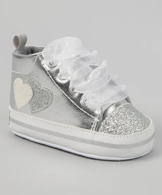 Take+a+look+at+the+Gerber+Childrenswear+Silver+Metallic+Glitter+Heart+Hi-Top+Sneaker+on+#zulily+today!