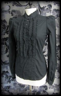 Gothic Victorian Black Frill High Neck Puff Shoulder Blouse 6 8 Steampunk Goth | THE WILTED ROSE GARDEN on eBay // Worldwide Shipping Available
