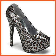 Women's Bordello Teeze-37 Cheetah Glitter Concealed Platform Pump Silver 7 - Pumps for women (*Amazon Partner-Link)