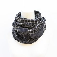Black and Off White Plaid Infinity Scarf by Felinus on Etsy