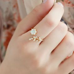 Accessories flower rhinestone index finger ring