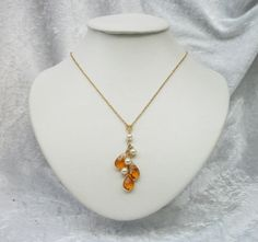 Pearl and amber drops gold necklace