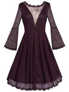 SHARE & Get it FREE | Vintage Flare Sleeve Backless See Through Lace DressFor Fashion Lovers only:80,000+ Items • New Arrivals Daily • Affordable Casual to Chic for Every Occasion Join Sammydress: Get YOUR $50 NOW!