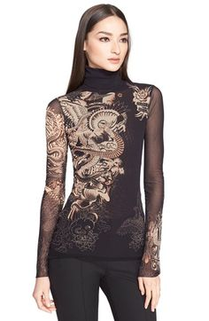 Jean Paul Gaultier Jean Paul Gautier Tattoo Print Tulle Turtleneck (Nordstrom Exclusive) available at #Nordstrom